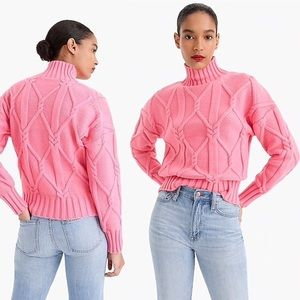 •J. Crew Collection• Cable Knit Mock Sweater Pink